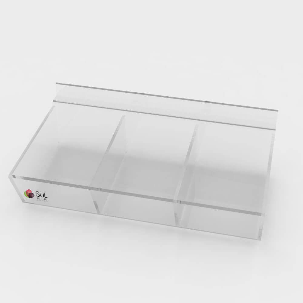 Expositor bandeja com divisórias porta acessórios para painel canaletado - 5 unidades