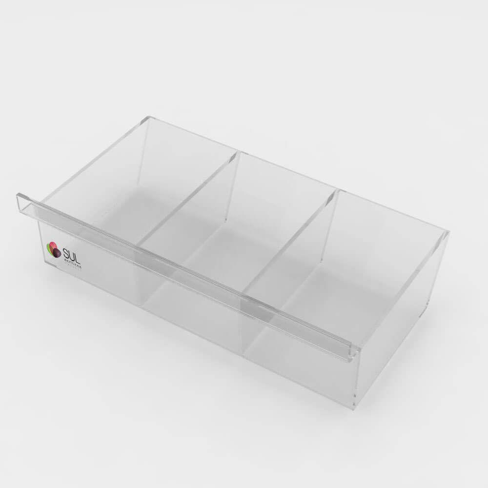 Expositor bandeja caixa com divisórias porta acessórios para painel canaletado