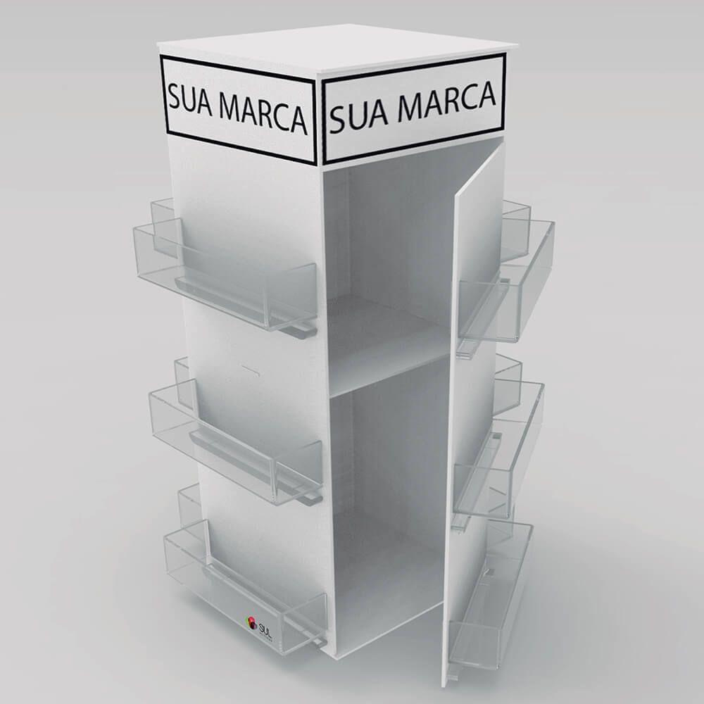 Display expositor para acessórios de celular em acrílico com tampa - Modelo Torre