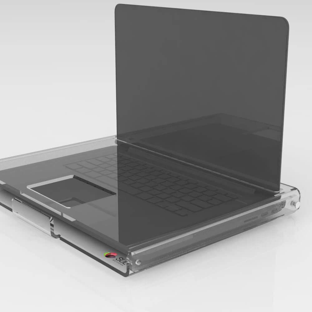 Suporte expositor em acrílico com trava de segurança para notebook