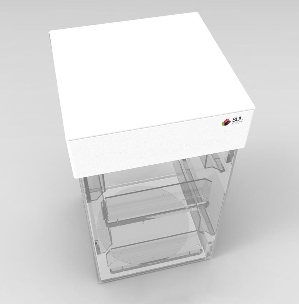 Display expositor para acessórios de celular em acrílico giratório anti furto