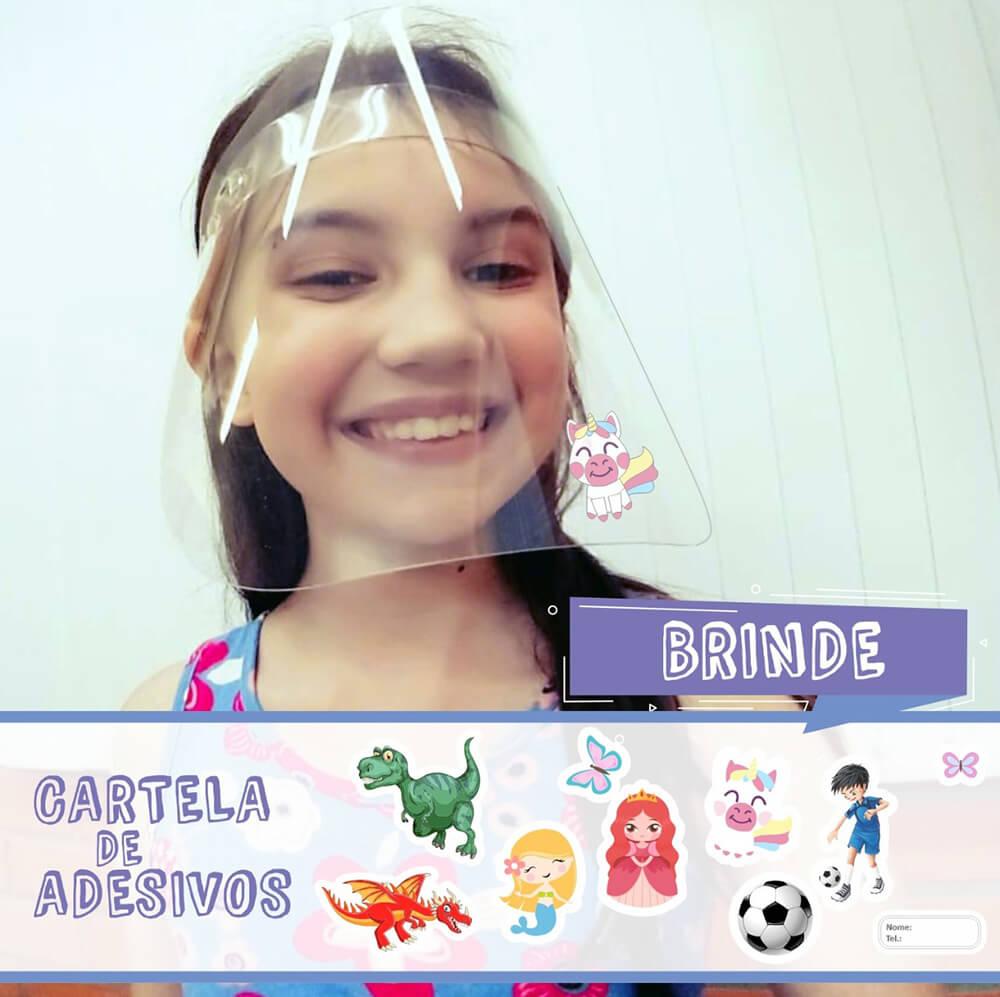 Face Shield Protetor Facial em Acrílico Infantil Mod. Kids