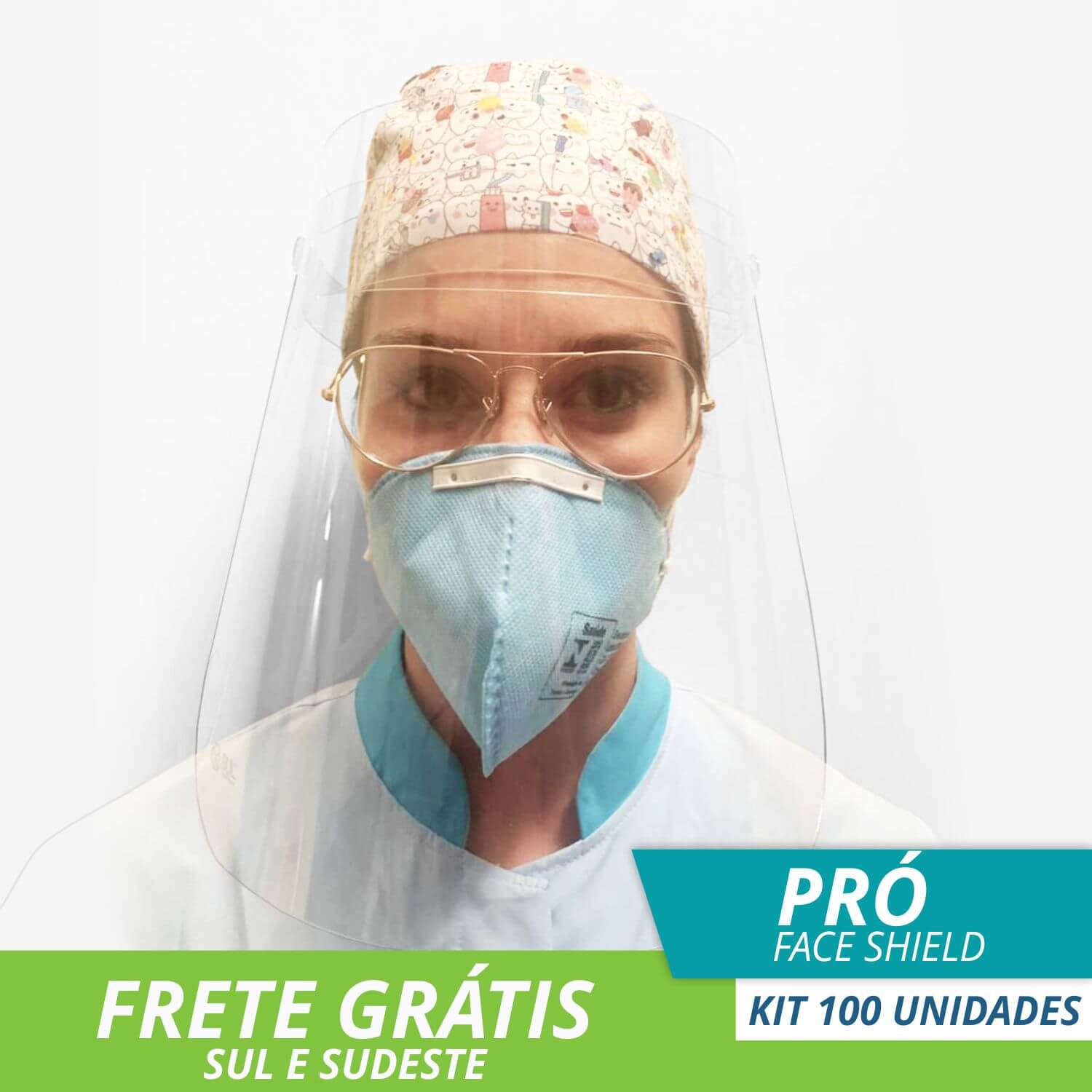 FACE SHIELD PROTETOR FACIAL TOTAL MODELO PRÓ - Kit com 100
