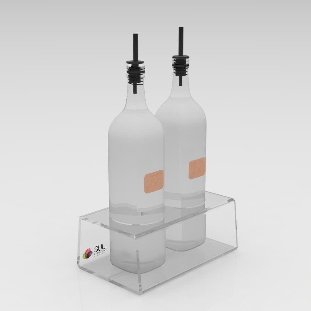 Galheteiro suporte em acrílico para vinagre e azeite - 5 unidades