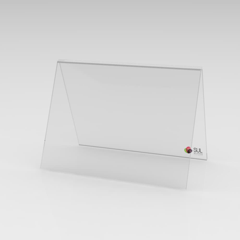 Display cavalete marcador de mesa em acrílico modelo V médio - 10 unidades