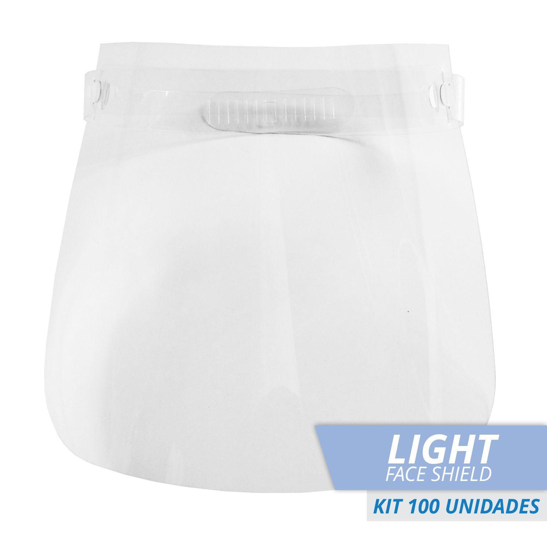 FACE SHIELD PROTETOR FACIAL TOTAL MODELO LIGHT -Kit com 100