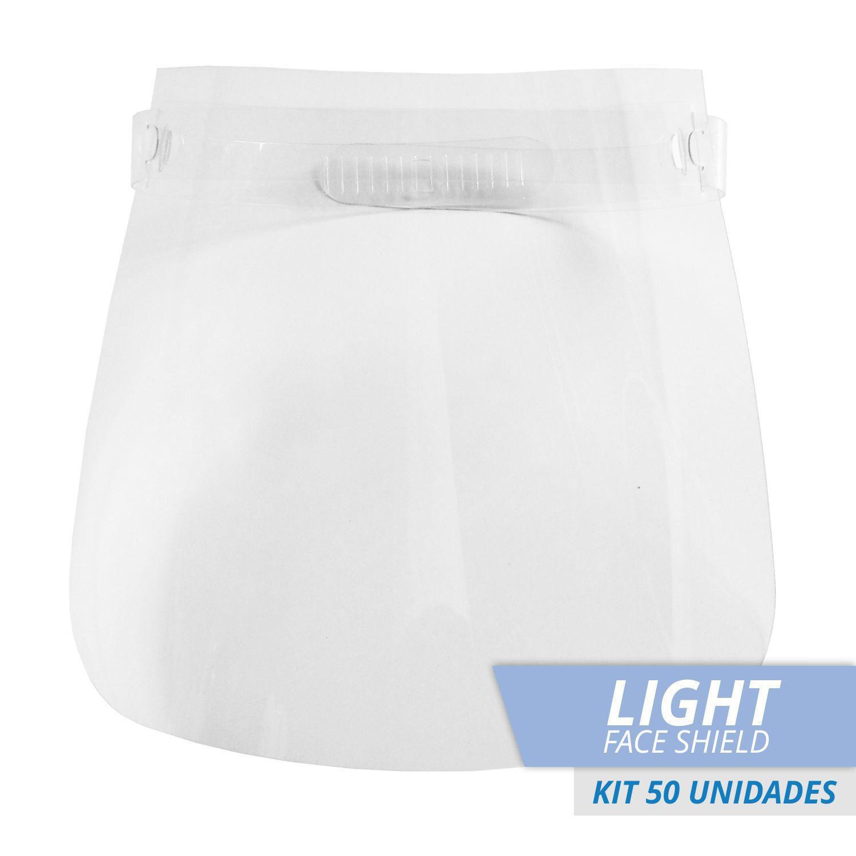 FACE SHIELD PROTETOR FACIAL TOTAL MODELO LIGHT - Kit com 50
