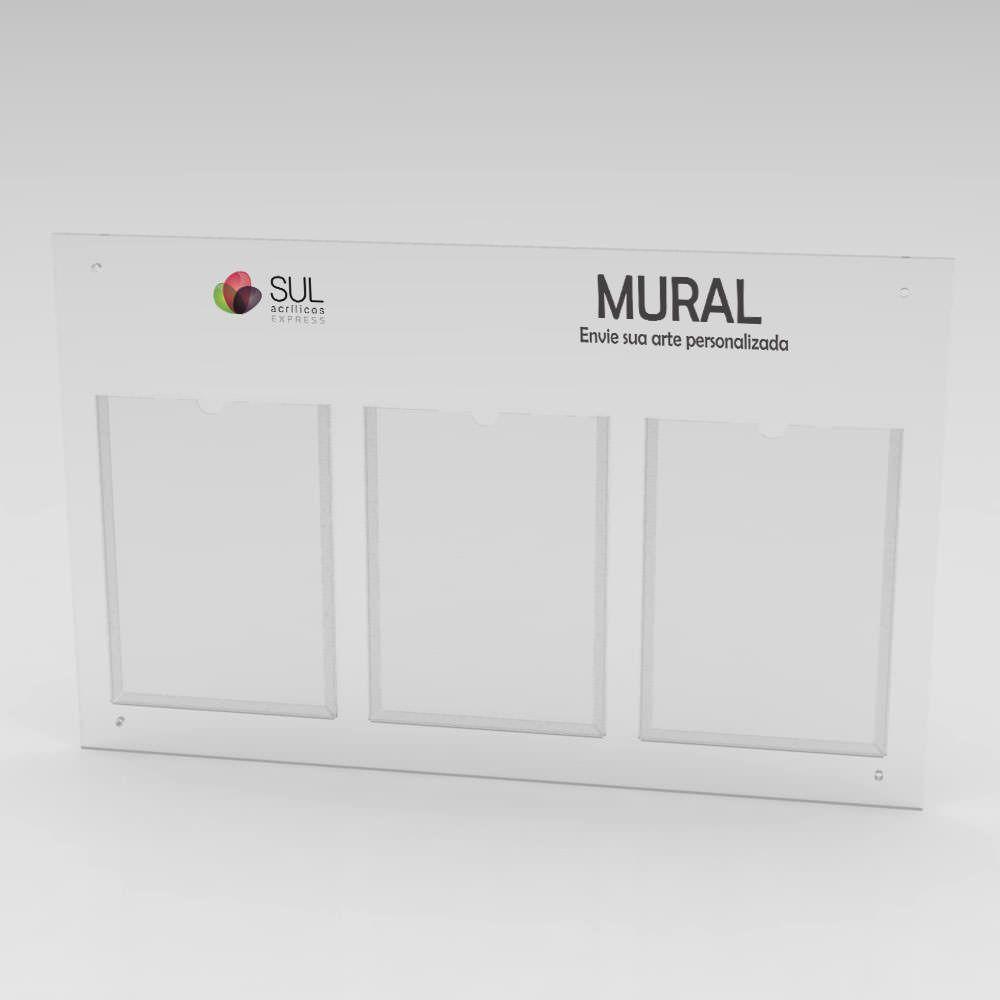 Mural - Gestão a Vista com 3 bolsos para folha A4 Retrato