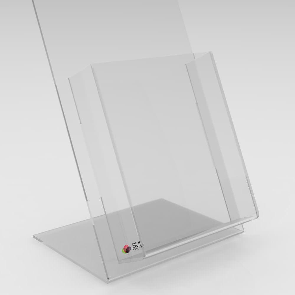 Display A5 porta folder e folhetos em acrílico para mesa ou balcão - 4 unidades