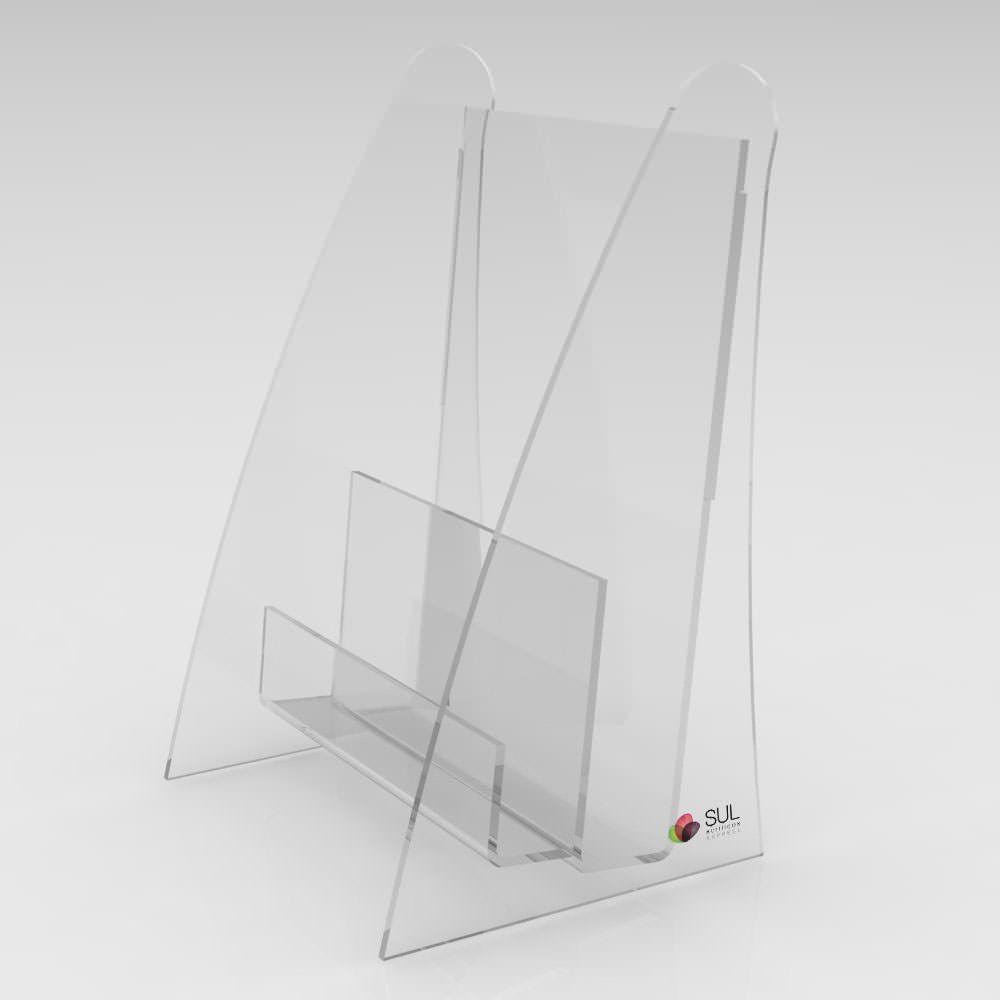Display porta folder e folhetos com porta cartão em acrílico para mesa ou balcão - 4 unidades