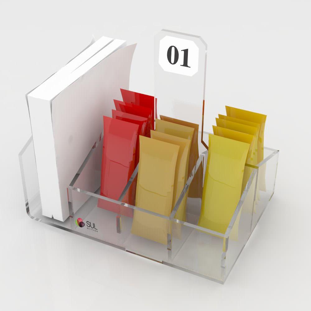 Porta Guardanapos e Sachês 6 Divisões - Pacote com 5 Unidades