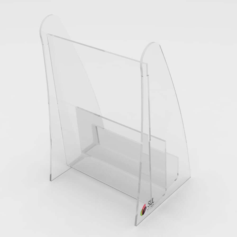 Porta Folder c/ Porta Cartão em Acrílico p/ Mesa ou Balcão