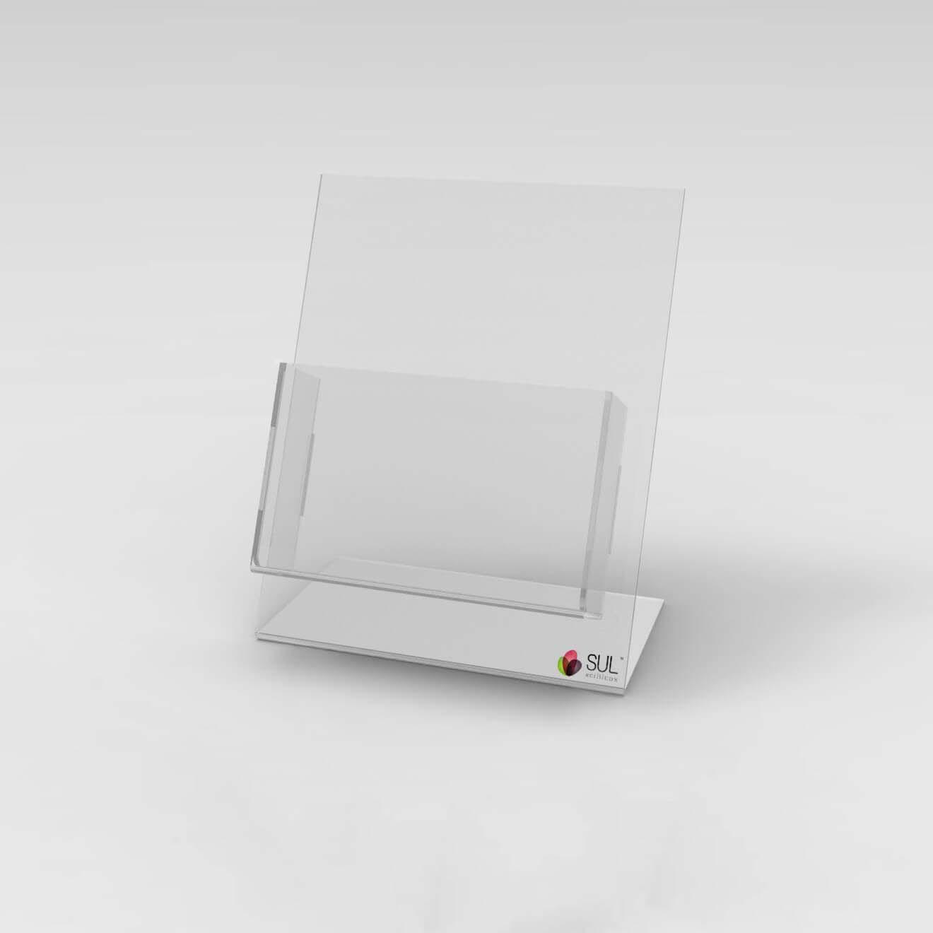 Porta Folder A6 em Acrílico p/ mesa ou balcão - 4 unds.