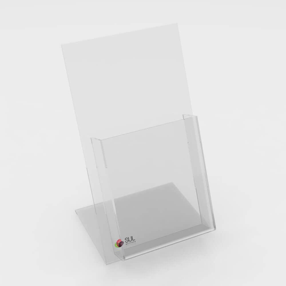 Display porta folder e folhetos em acrílico para mesa ou balcão -  21,3cm x 12,8cm 4 unidades