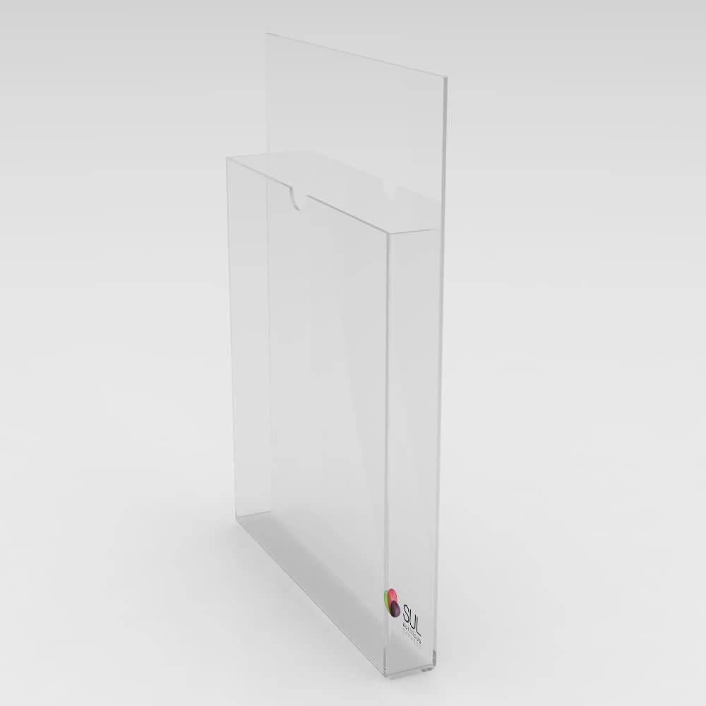 Display A4 vertical porta folder e folhetos em acrílico para parede - 2 unidades
