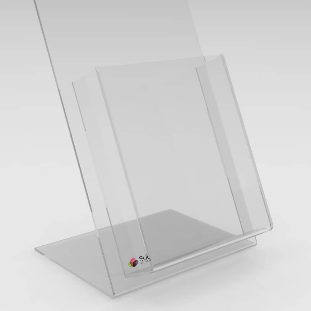 Display A5 porta folder e folhetos em acrílico para mesa ou balcão