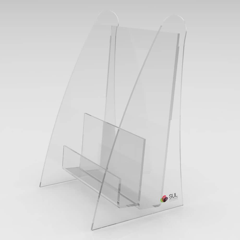 Display porta folder e folhetos com porta cartão em acrílico para mesa ou balcão