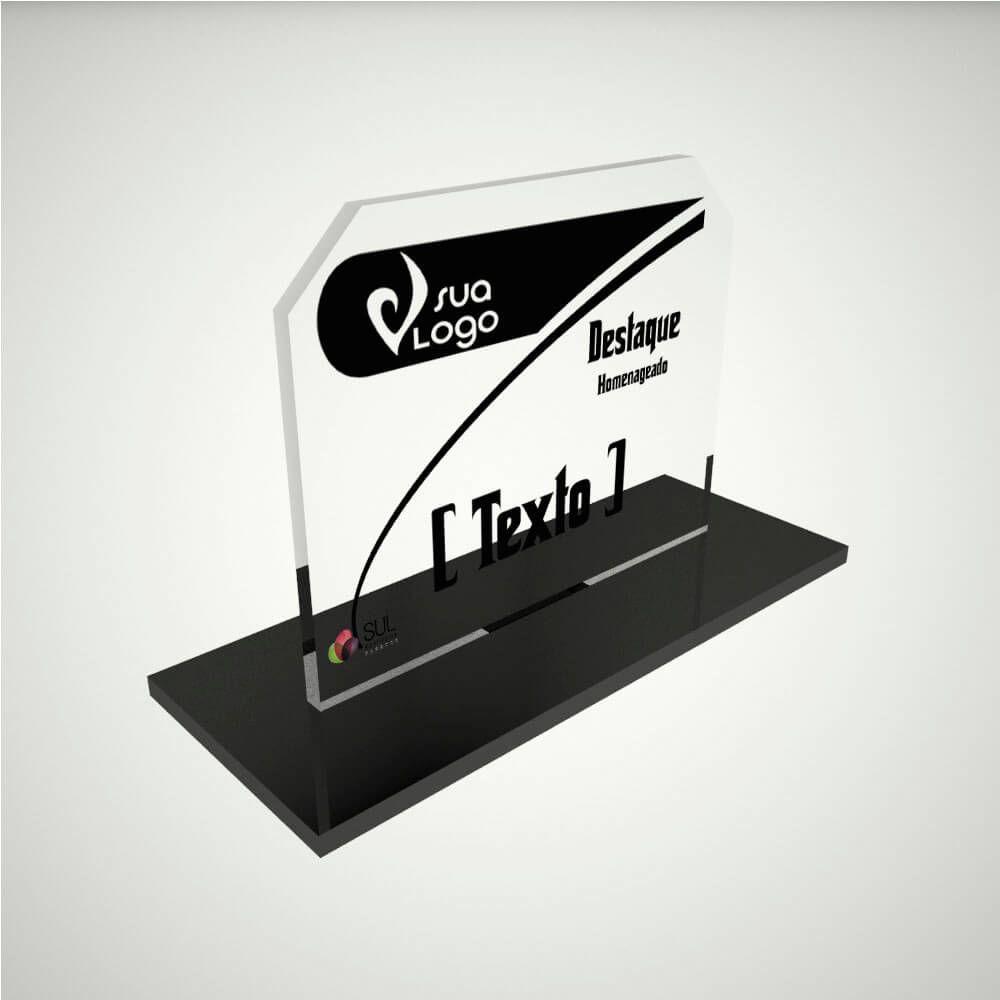 Troféu personalizável em acrílico para premiações de eventos e campeonatos - Classic Horizontal