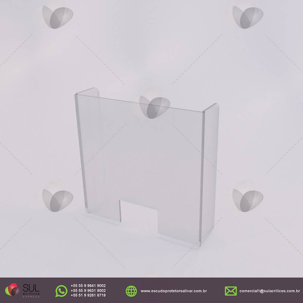 Barreira de Proteção em Acrílico p/ Mesas de Órgãos Públicos - Kit c/ 10