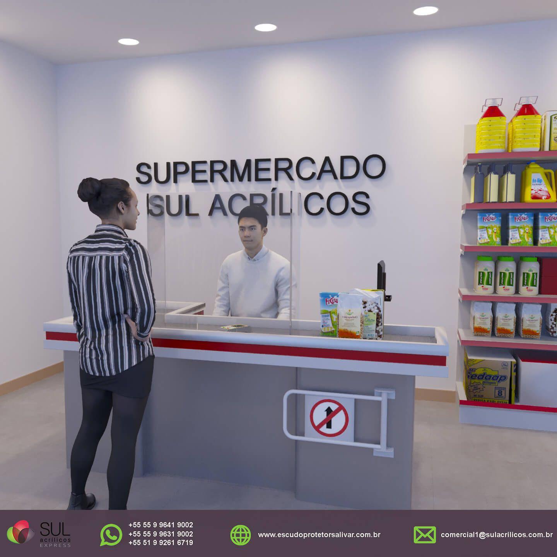 Escudo Protetor Salivar para Mercado com Recorte Inferior - Kit com 10