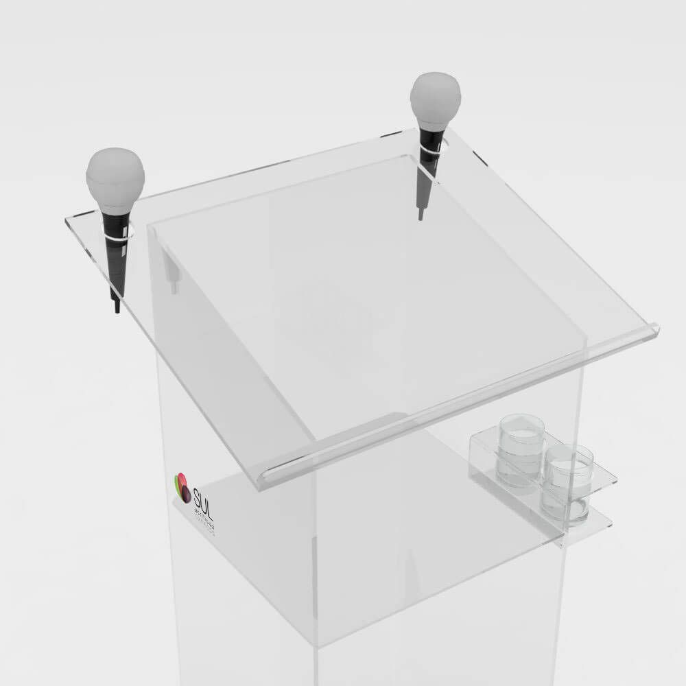 Púlpito de Acrílico c/ Prateleira e Suporte p/ Microfones e Copos Lateral