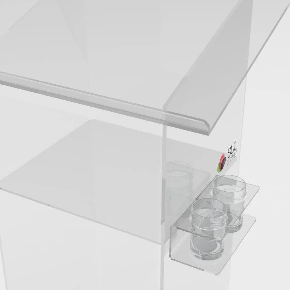Púlpito de acrílico para igreja e eventos - prateleira e suporte para copos lateral