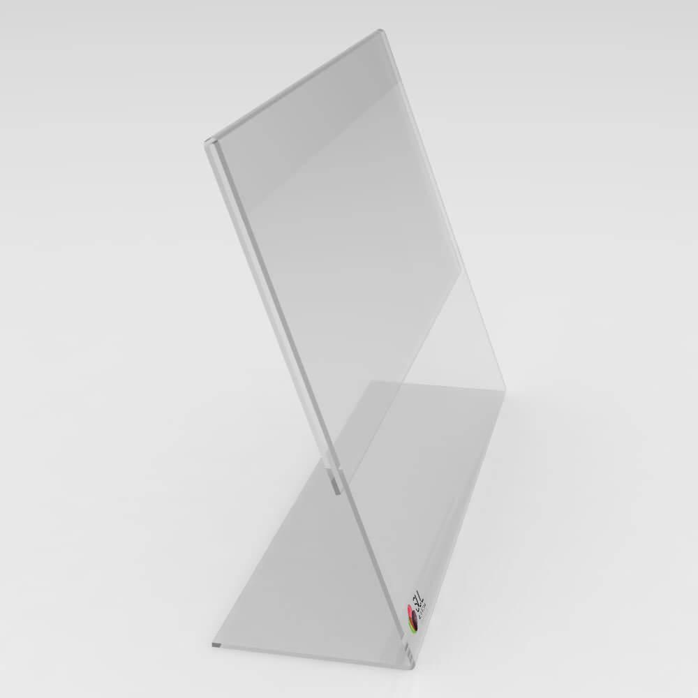 Display expositor em L porta folha A6 horizontal mesa e balcão
