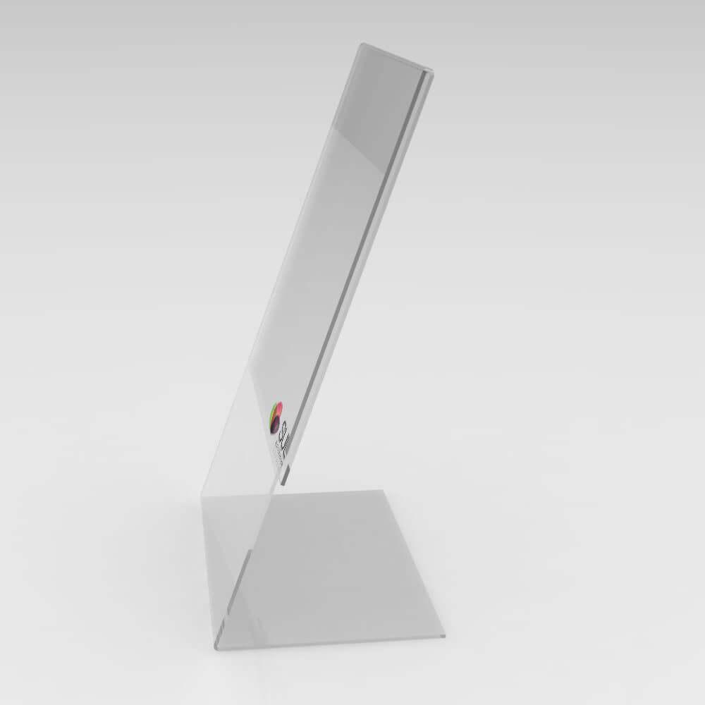 Display expositor em L porta folha A6 vertical mesa e balcão