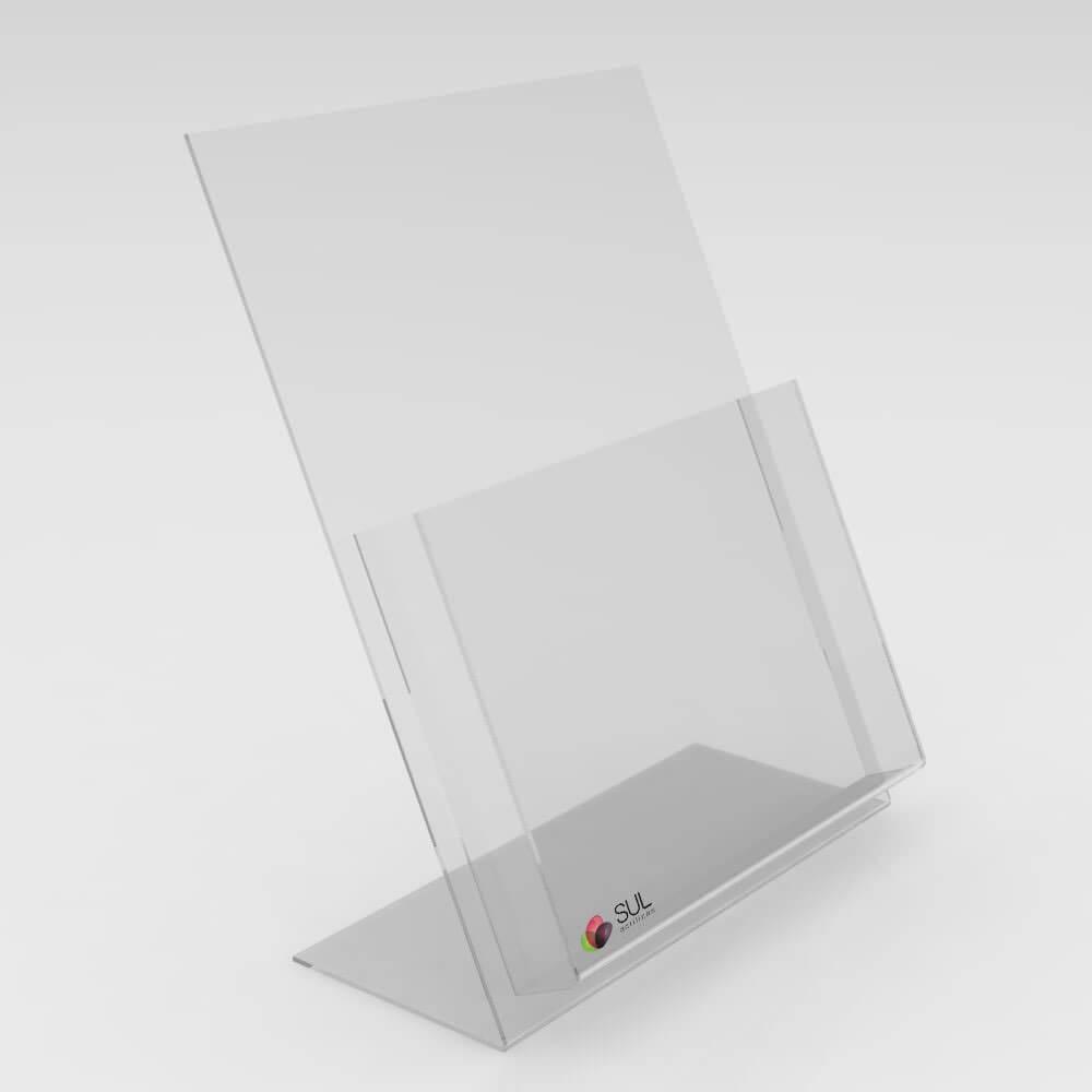 Porta Folder A4 em Acrílico p/ Mesa ou Balcão - 4 unds.