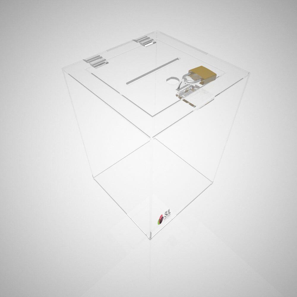 Urna quadrada em acrílico com cadeado para promoções e eventos - M