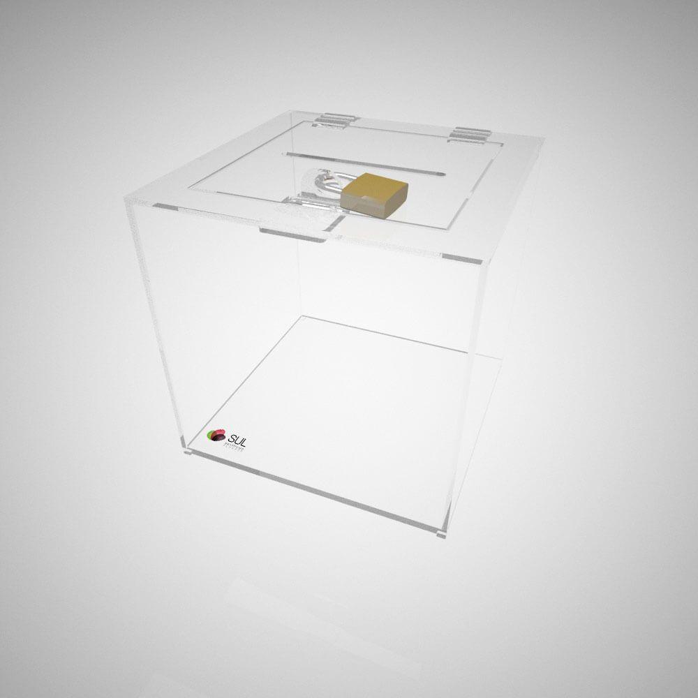 Urna quadrada em acrílico com cadeado para promoções e eventos - P