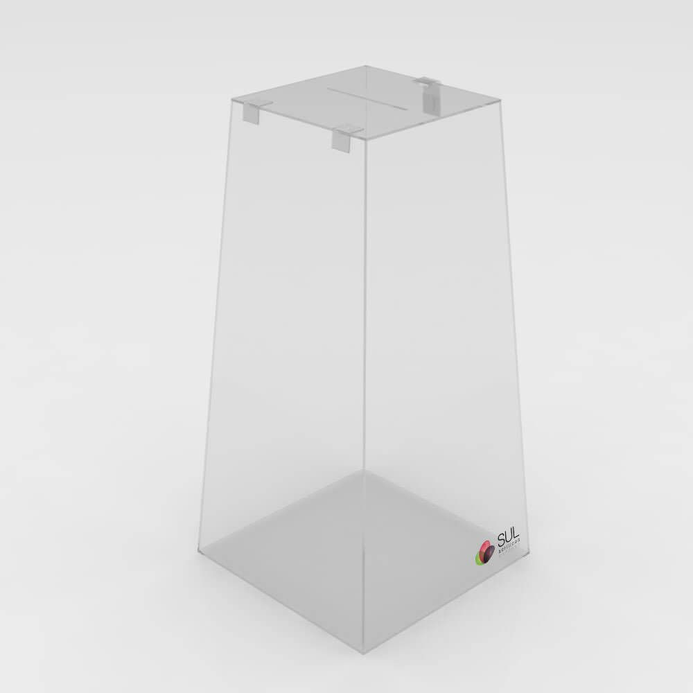 Urna Pirâmide em Acrílico c/ Cadeado p/ Promoções e Eventos - G