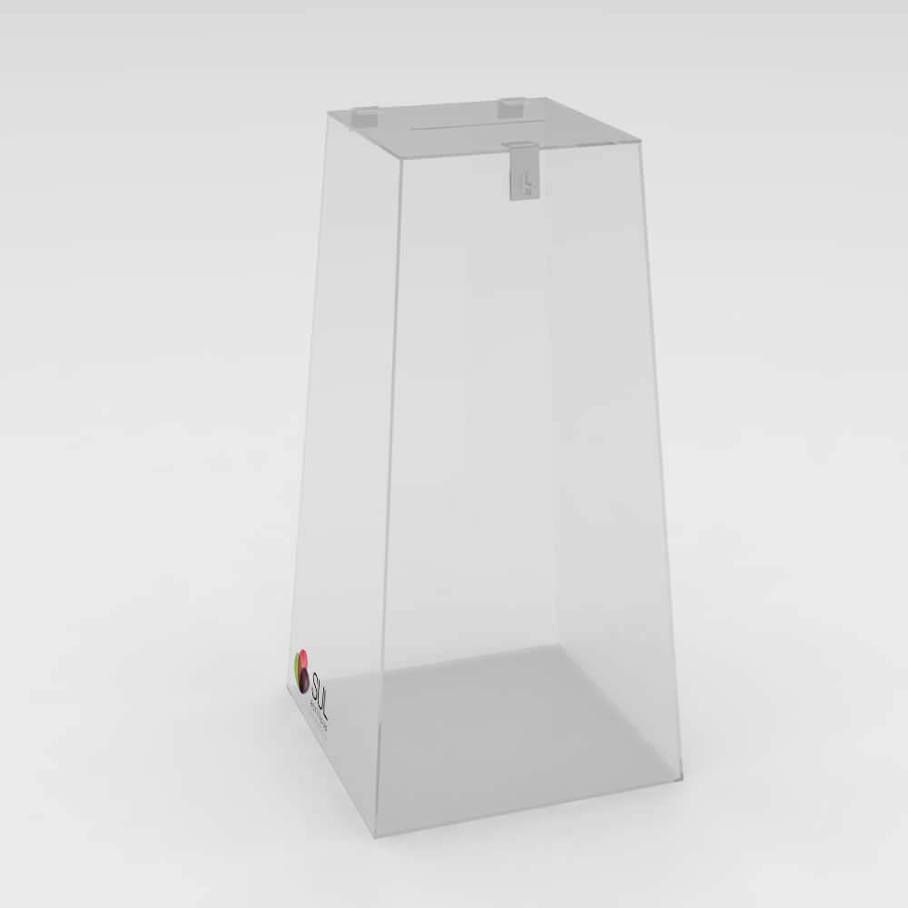 Urna pirâmide em acrílico com cadeado para promoções e eventos - P
