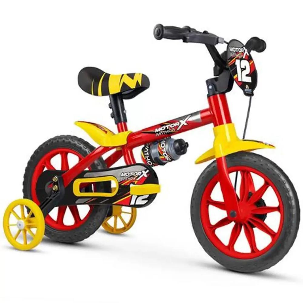 Bicicleta Nathor Aro 12 Motor X Vermelho e Amarelo