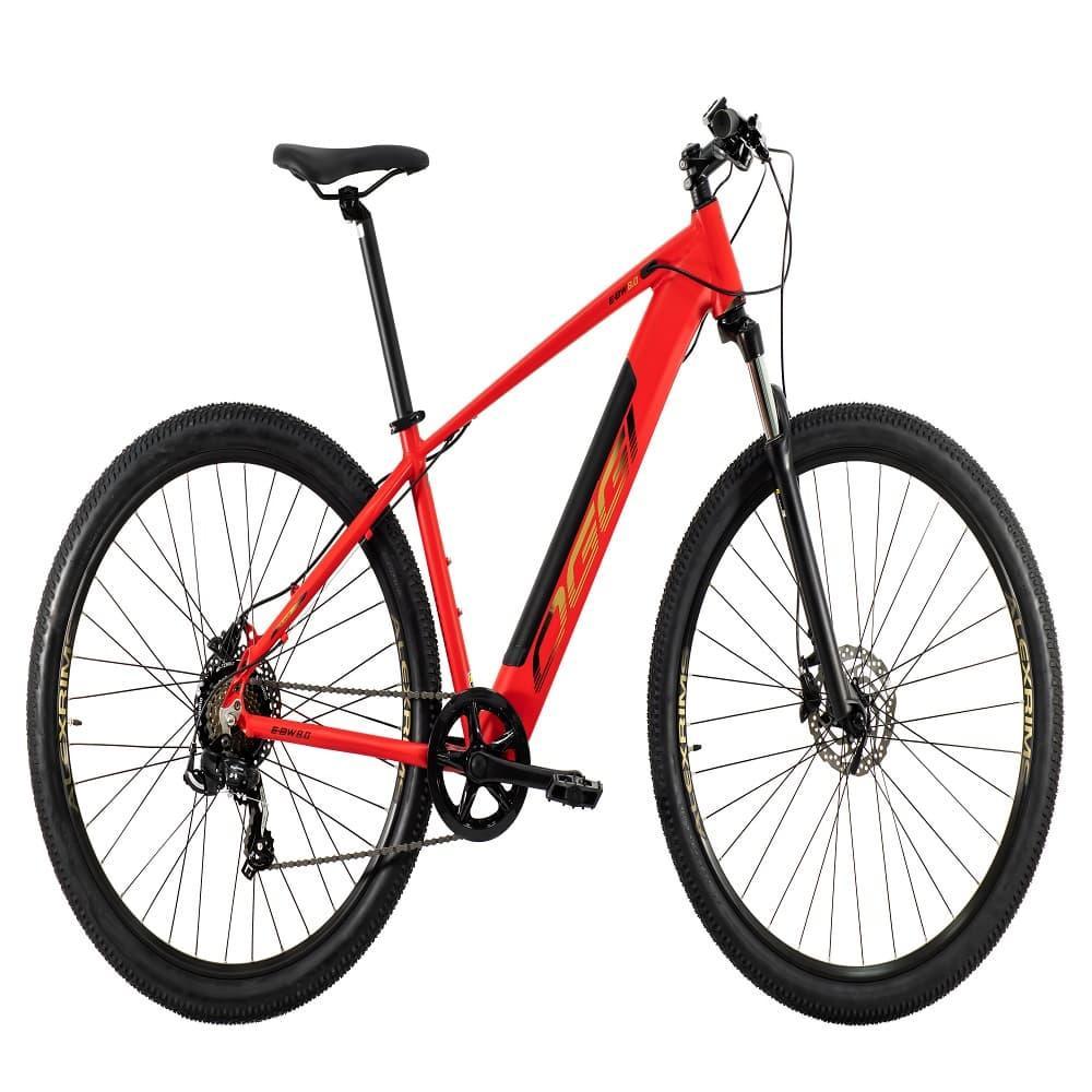 Bike MTB Eletrica Big Wheel 8.0 2021 Vermelho e Amarelo Shimano Tourney 7 Velocidades