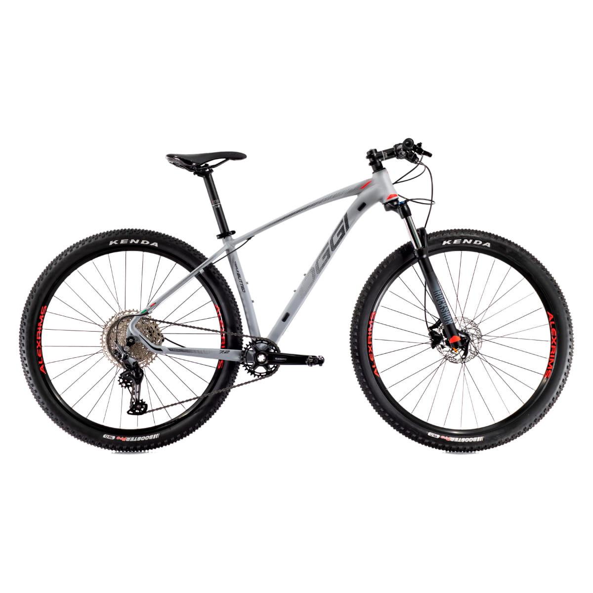 Bike Oggi 2021 Big Wheel 7.2 Shimano Deore Cinza com Vermelho