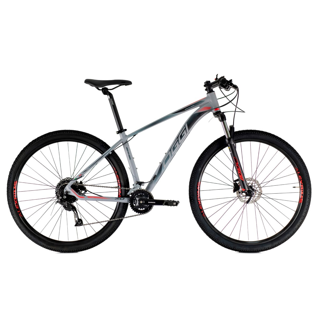 Bike Oggi 7.0 2021 Big Whell 18 V Shimano Alivio Cinza Vermelho