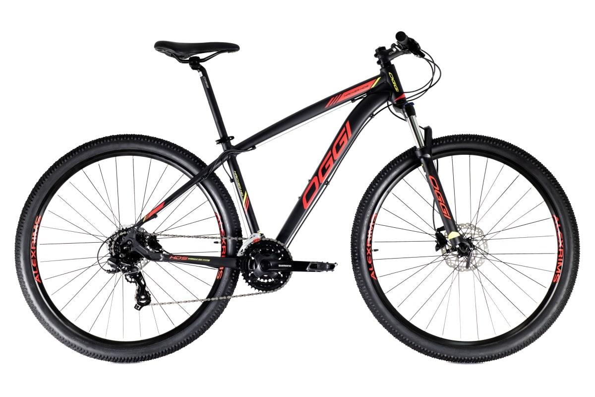 Bike Oggi Hacker HDS Hidráulico 2021 Shimano 24v Preto e Vermelho