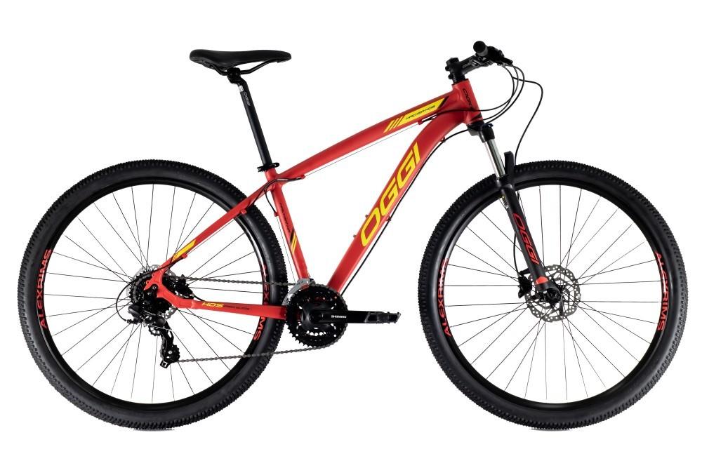 Bike Oggi Hacker HDS Hidráulico 2021 Shimano 24v Vermelho e Amarelo