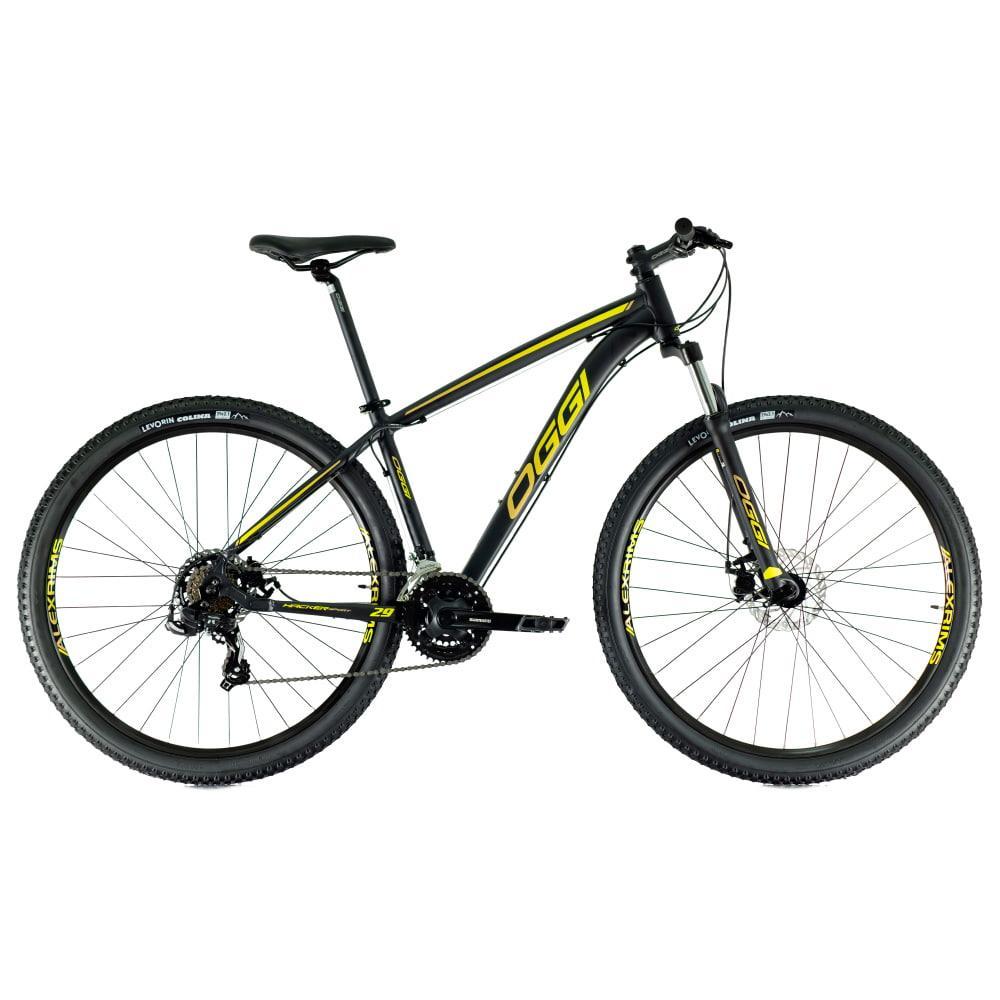 Bike Oggi Hacker Sport 2021 Preto Amarelo 21v Freio Mecanico Shimano