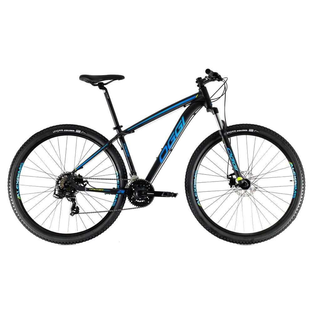 Bike Oggi Hacker Sport 2021 Preto Azul 21v Freio Mecanico Shimano Original