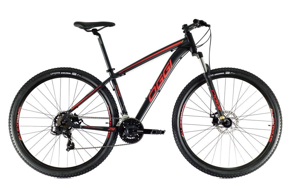 Bike Oggi Hacker Sport 2021 Preto Vermelho 21v Freio Mecanico Shimano Original