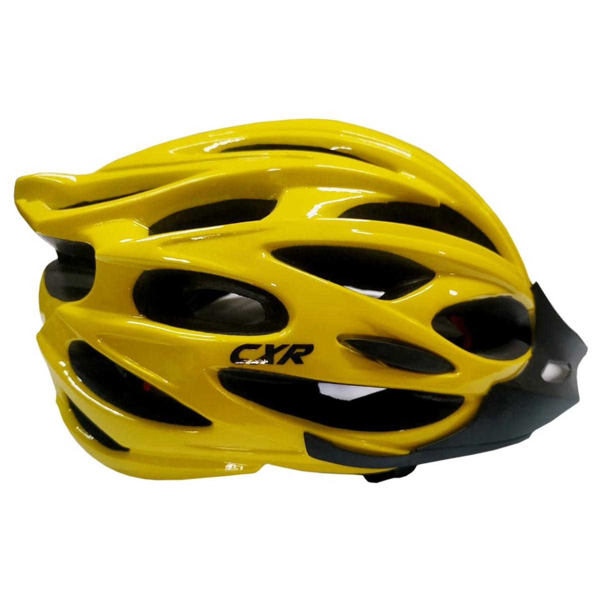 Capacete Ciclismo CXR Amarela Com Luz