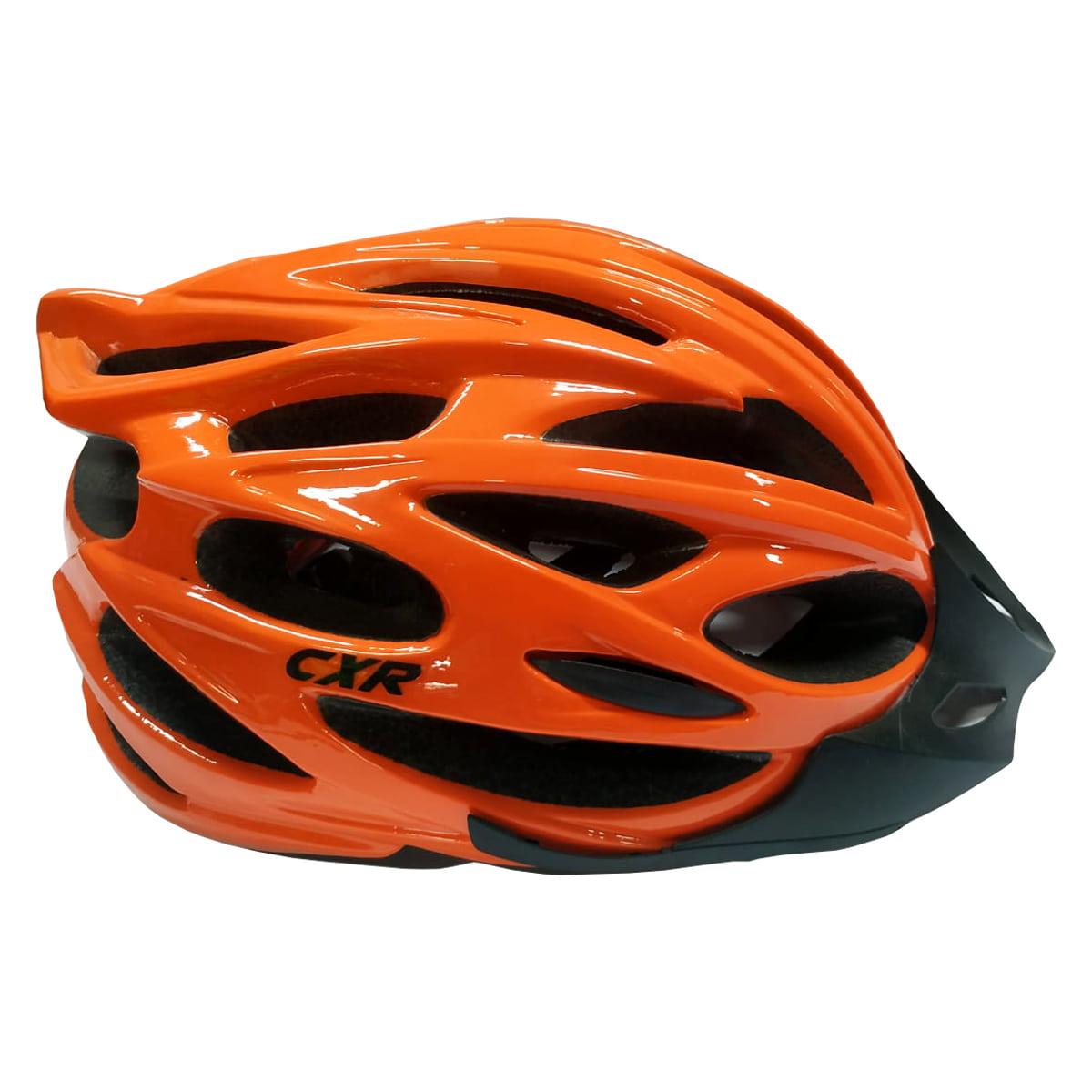 Capacete Ciclismo CXR Laranja com Luz
