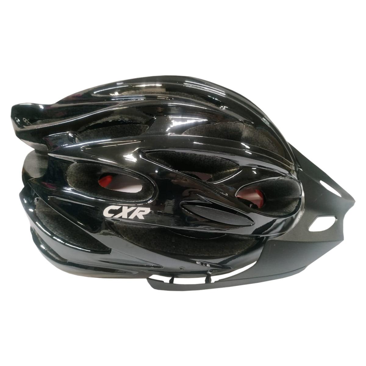 Capacete Ciclismo CXR Preto Com Luz