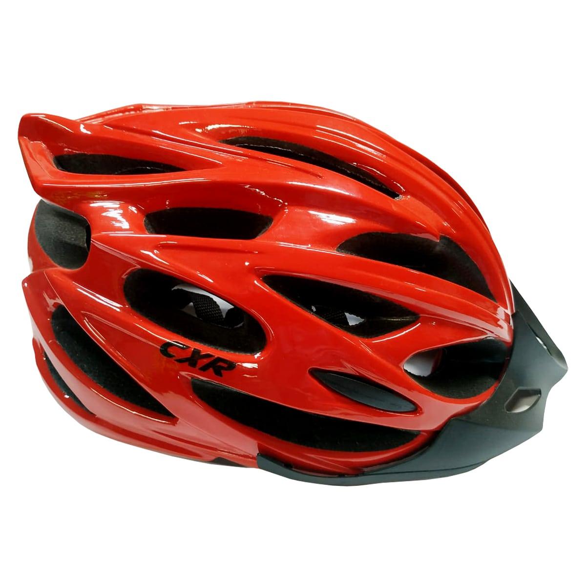 Capacete Ciclismo CXR Vermelho Com Luz