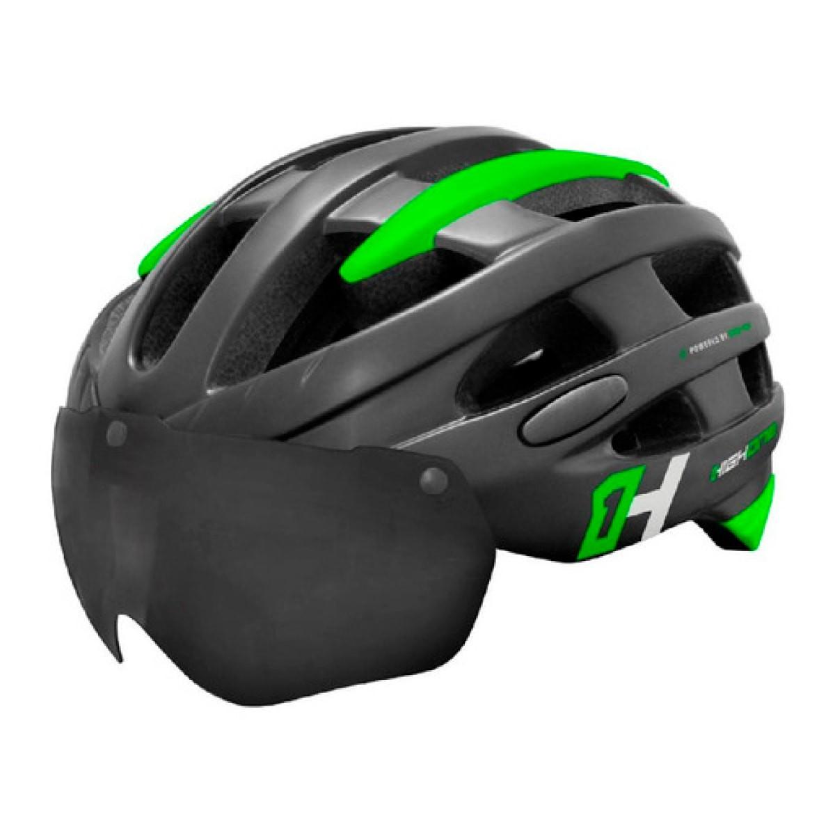 Capacete High One casco Verde Com Óculos Led Preto
