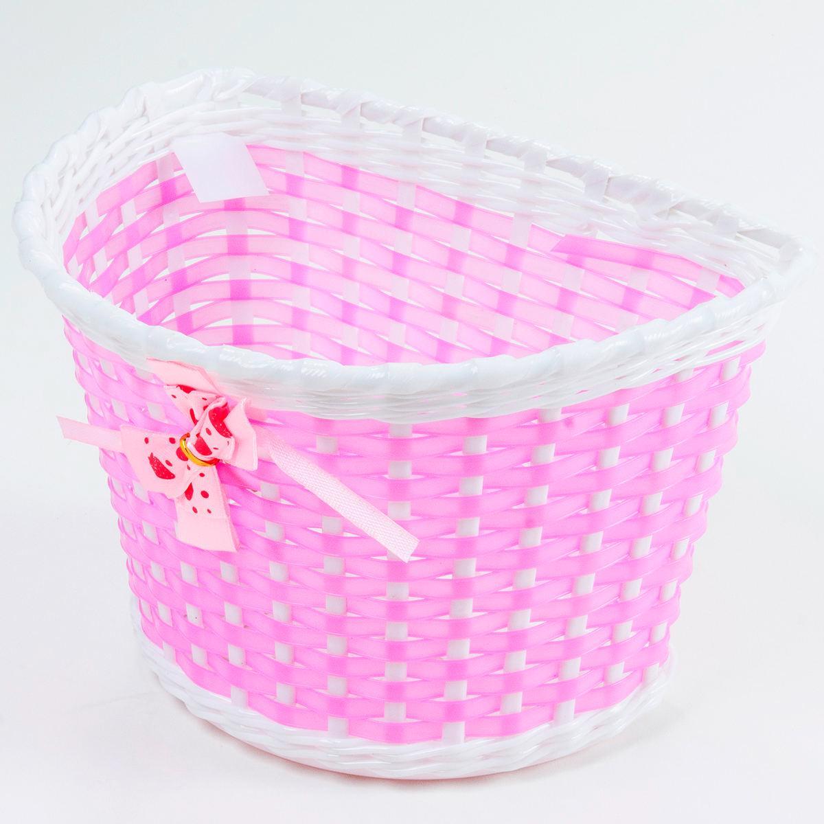 Cesta Infantil Aro 16 Plastico Rosa/Branco