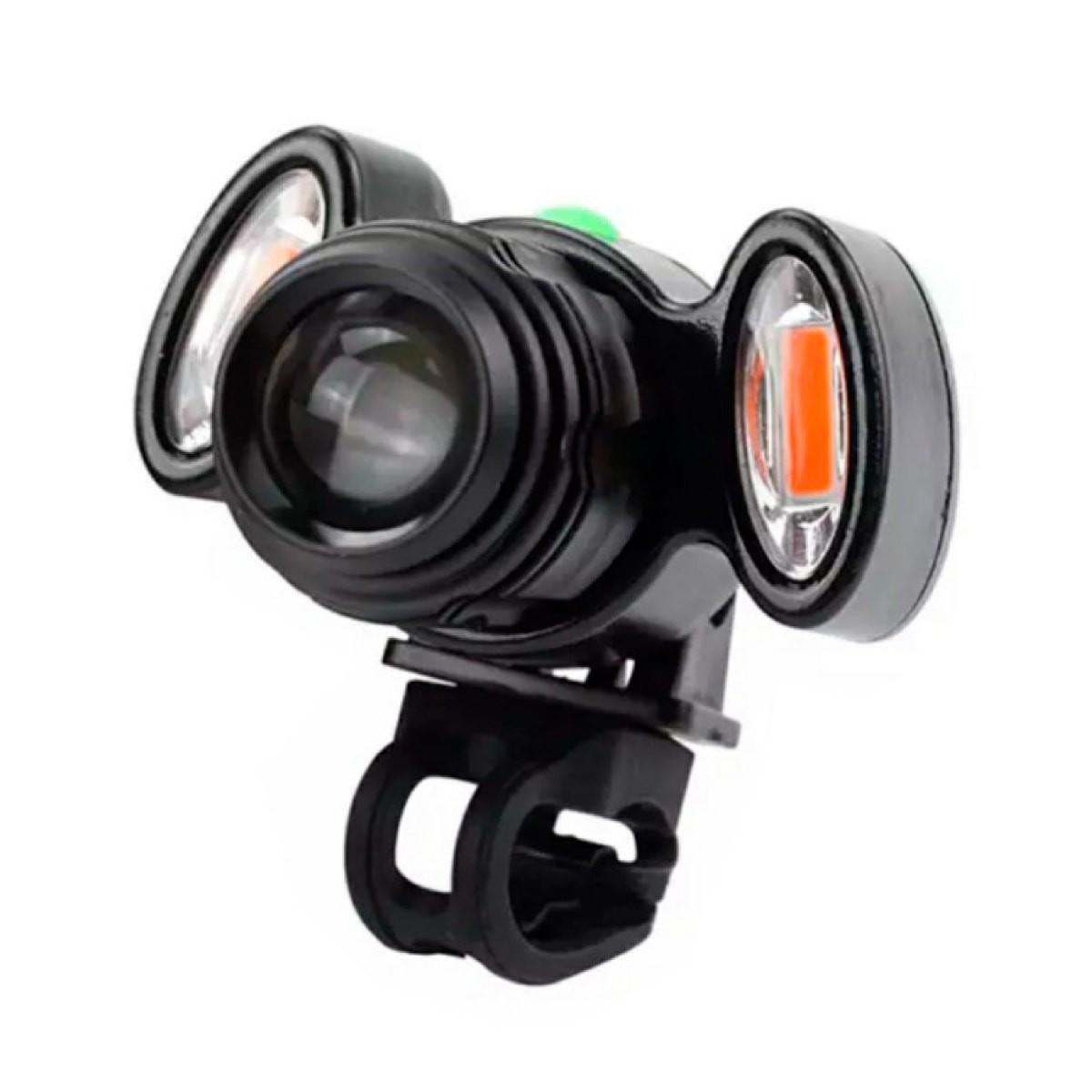 Farol USB 3 Lanterna Para cabeça Preto