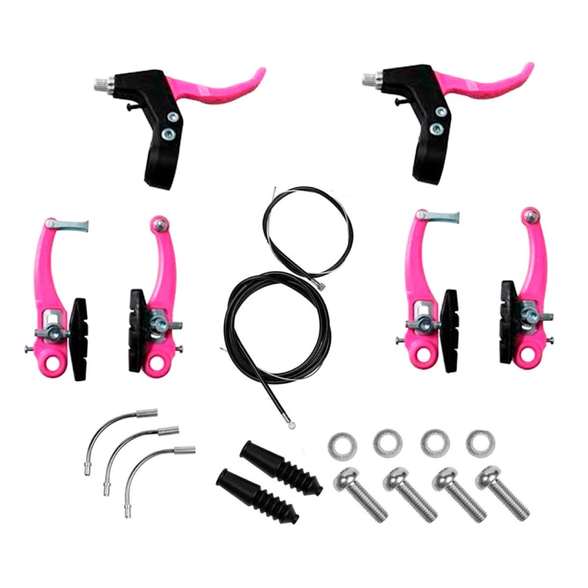 Freio V-brake Nylon Completo Rosa